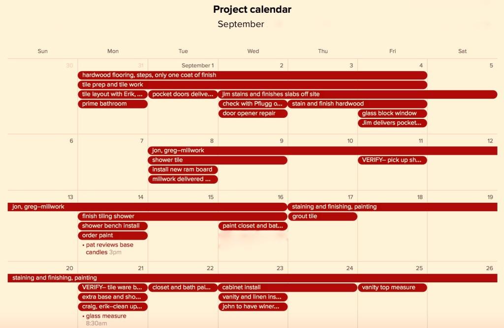 Legacy Building Company sample project calendar